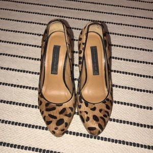 Calf hair leopard heels